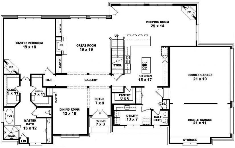 bedroom bath french style house plan plans floor_64437 house plans 3 bedroom 2 5 bath house - Rectangle House Plans