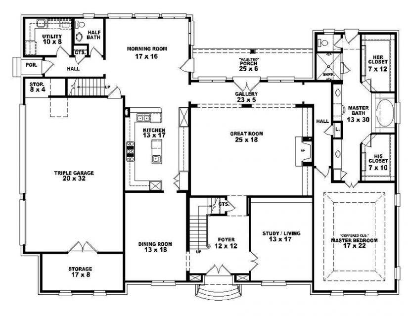 4 Bedroom House Plans One Story – 4 Bedroom House Blueprints