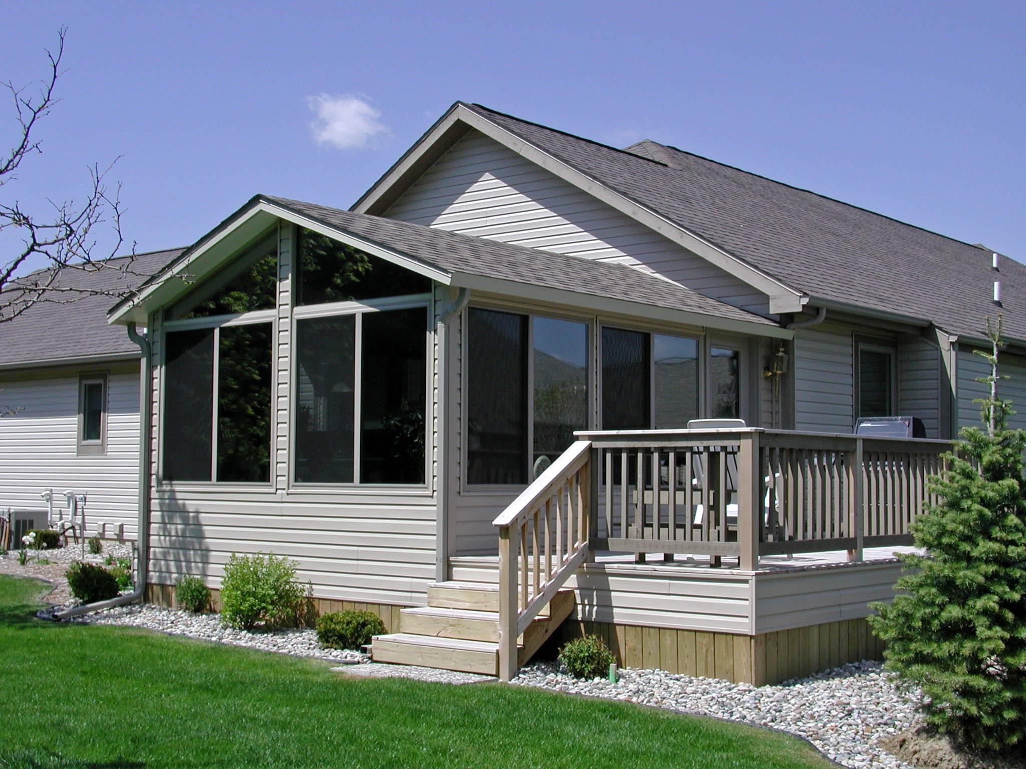 Double gable roof design sunroom vinyl house plans 84409 Single gable roof house plans