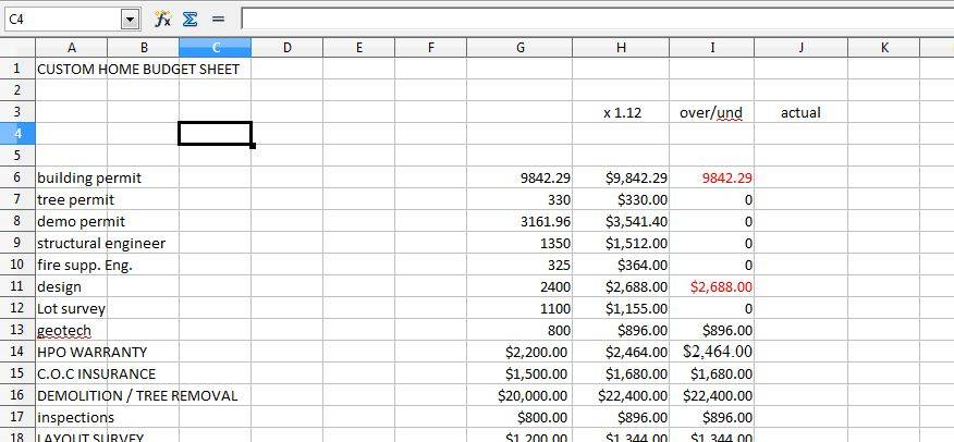 Downloadable Budget Spreadsheet Your New Home Renovation House – Build a Budget Worksheet