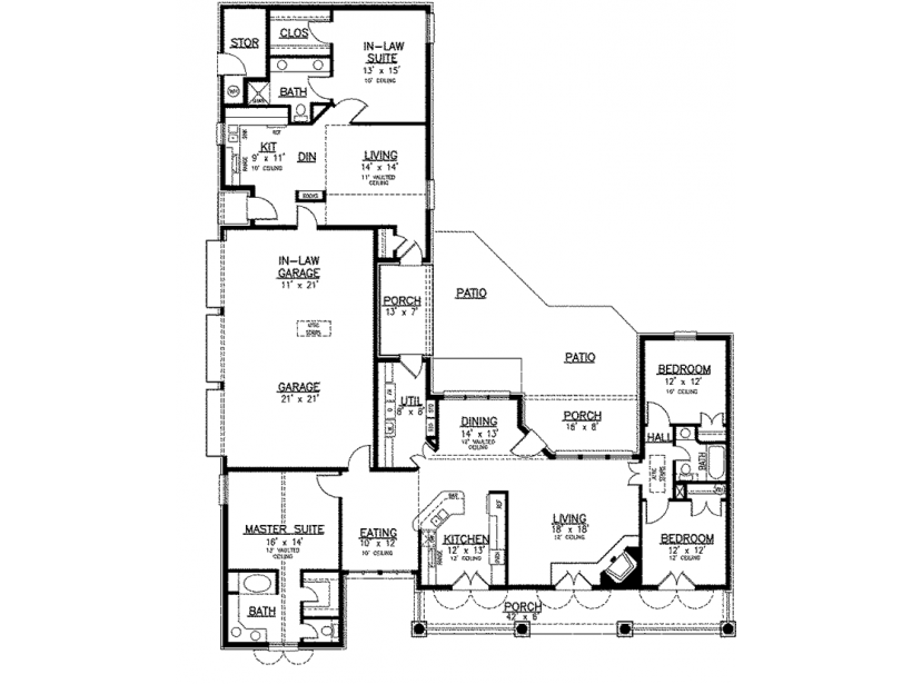 ordinary house plans with apartments #2: House plans with separate apartment