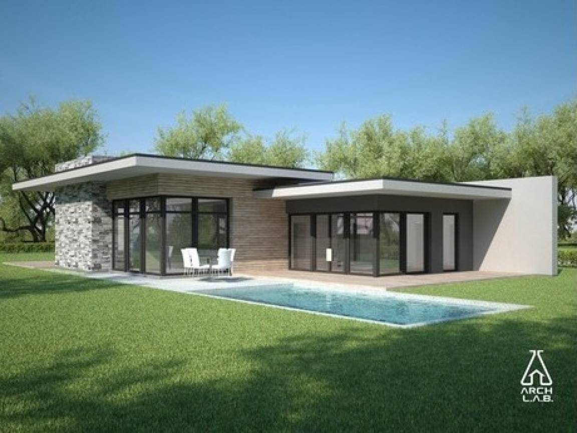 Flat oof Style Homes Modern House Plans One Story - House Plans ... - ^
