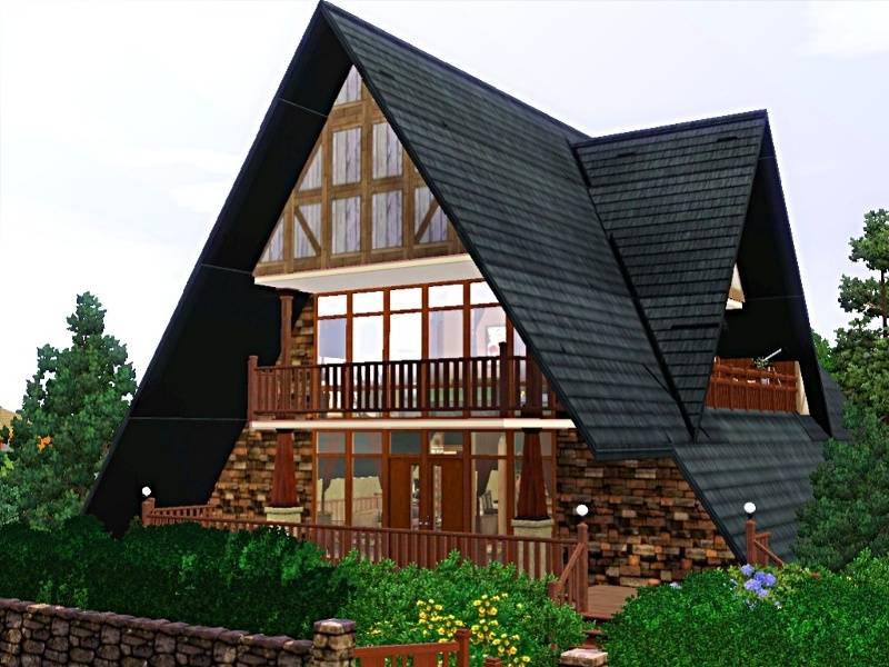 Frame house feature basement underground garage large A frame house plans with garage