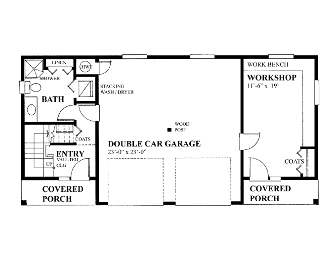 Garage Floor Plans Workshop Double House Plans 45296