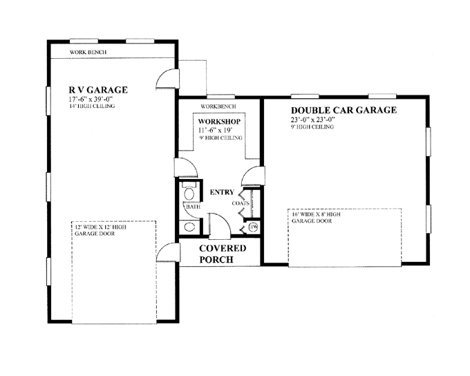 garage floor plans workshop print plan house plans 45308