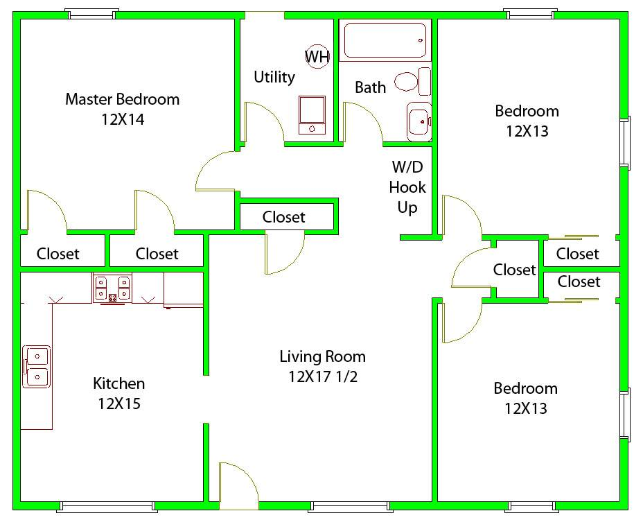 Simple Three Bedroom Floor Plan Home Ideas Decor Part 80