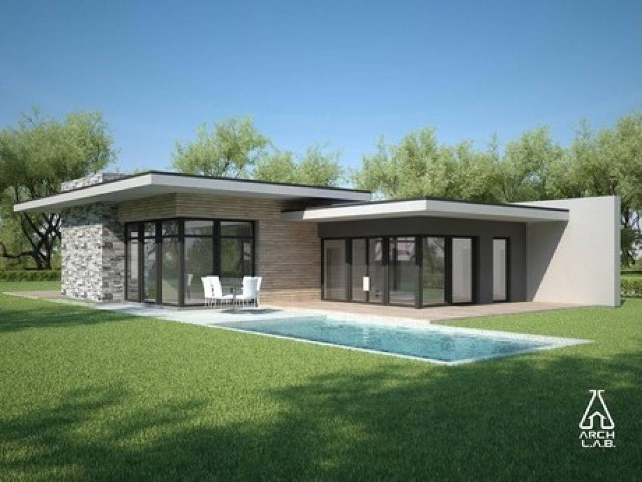 House Plans One Story ontemporary Single - House Plans #86494 - ^