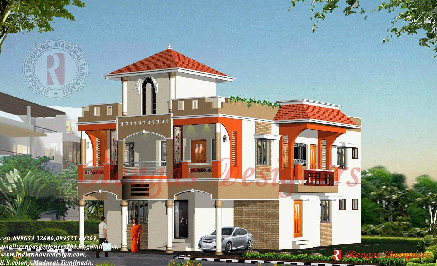 Indian house design three floor buildings designs
