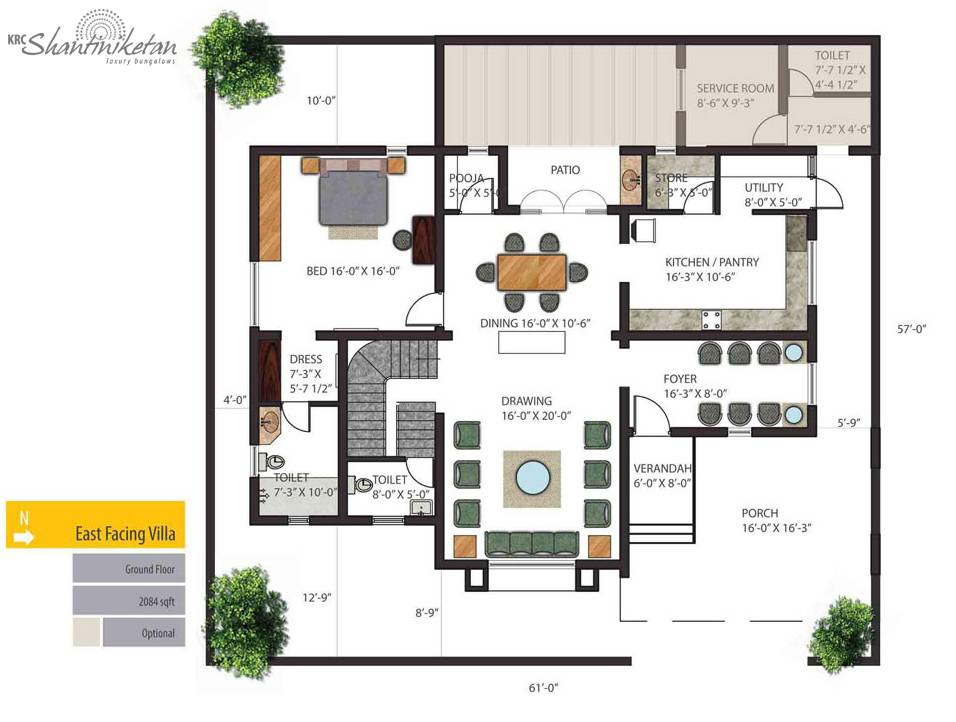 Individual bungalows floor plan ground east facing villa Individual house plans