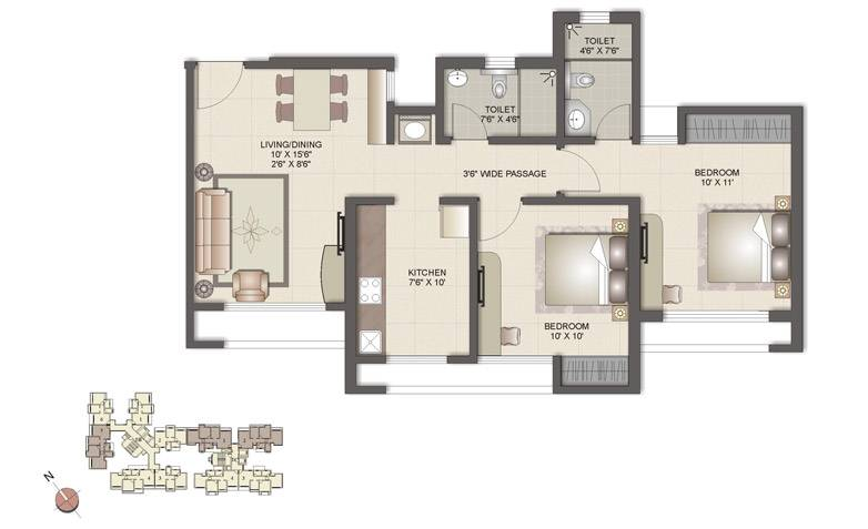 2 Bhk Plan For House House And Home Design