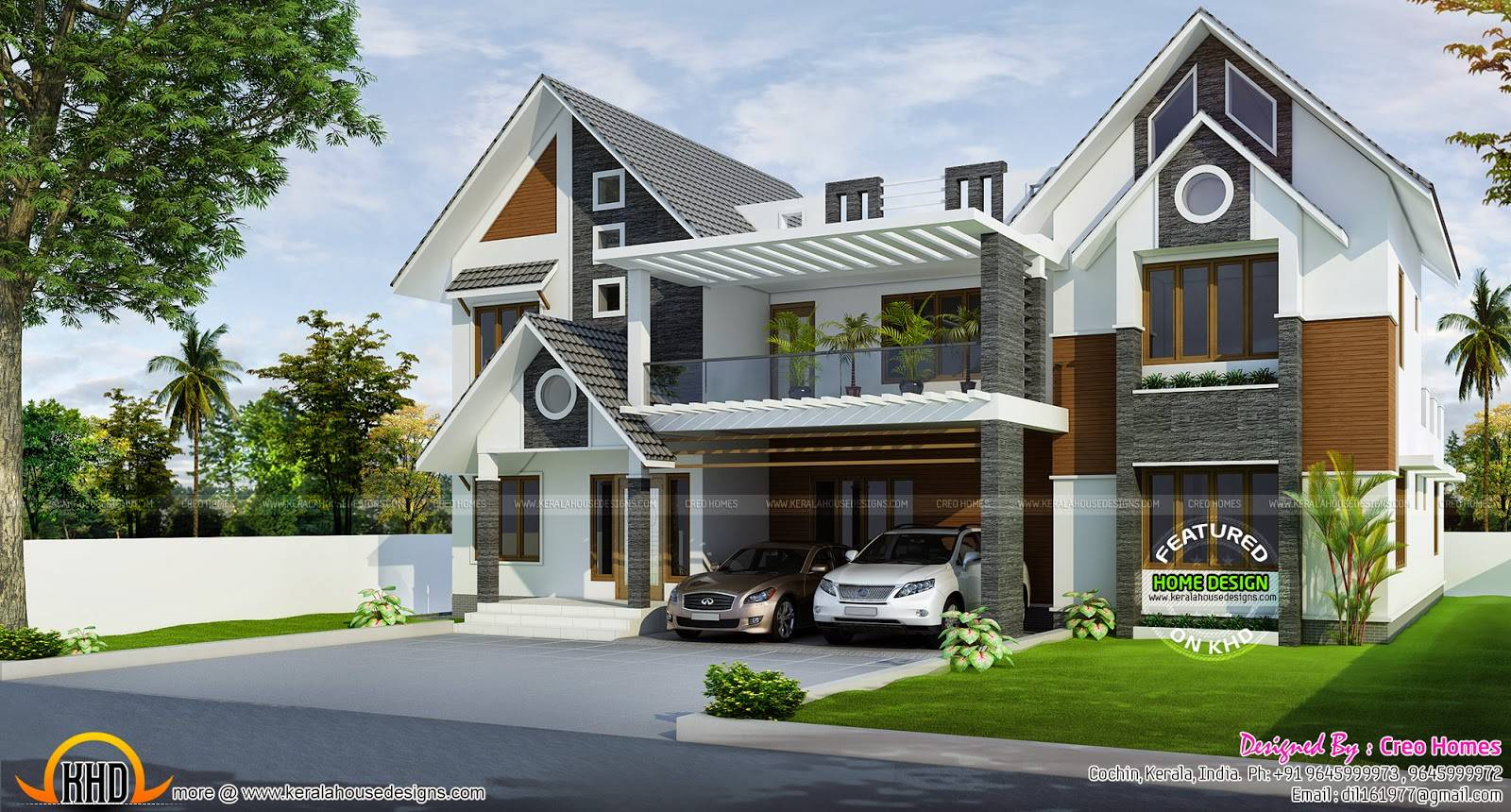 Modern Sloped Roof Home Kerala Design Floor Plans House