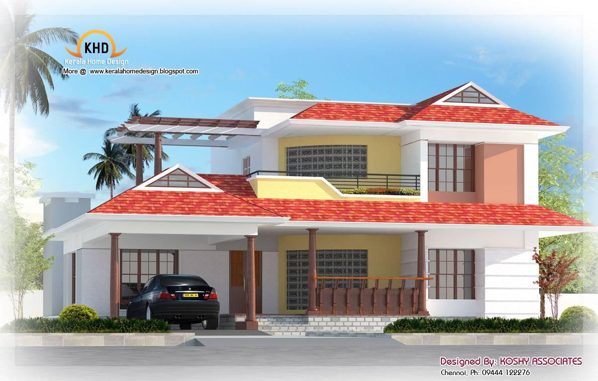 Nice duplex house elevation kerala home design view gallery