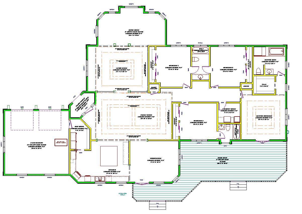 one story luxury home plans large single house plans 44224 - Large House Plans