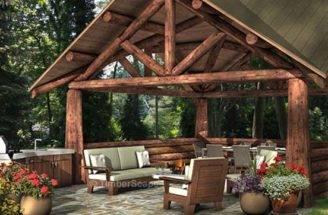 Pocono Log Pavilion Design Backyard