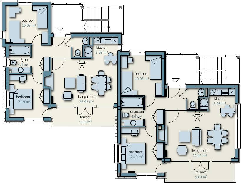 Semi detached house plan design