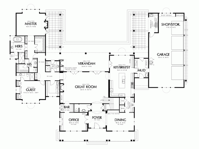 Shaped House Plans Pool Middle Home 57913 Home Designs Shaped House Plan Houzz Design House Plans 35601