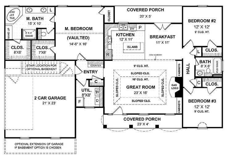 1 story house plans with garage