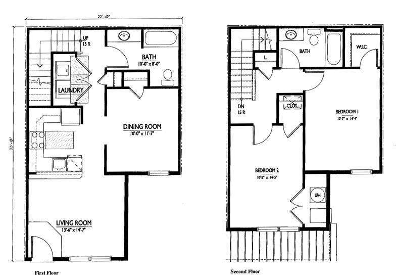 Simple Story Floor Plan Two Bedroom House Plans 85506