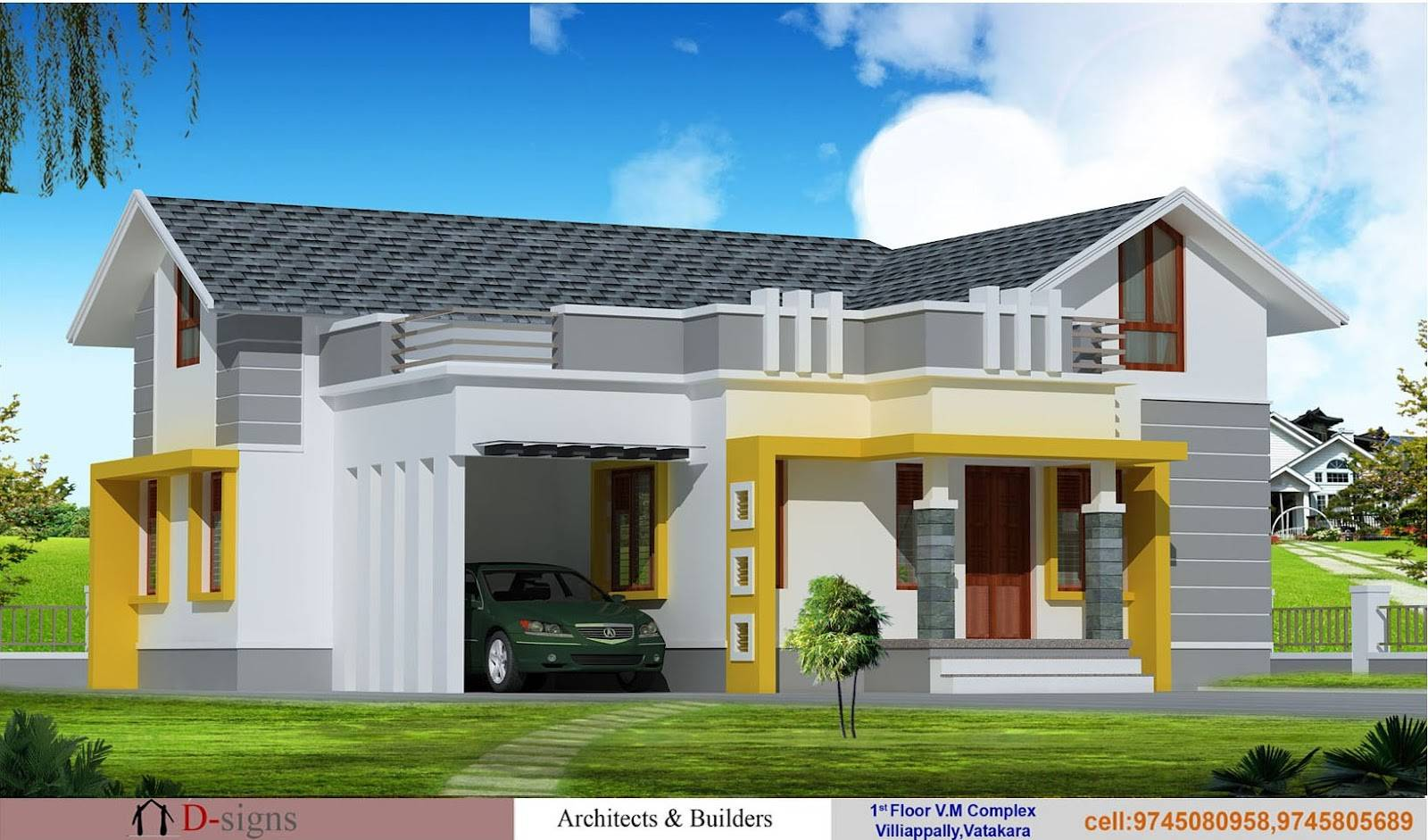 Single storey home flat roof future vertical expansion 6 social side - Good Beautiful Single Storey Home Designs