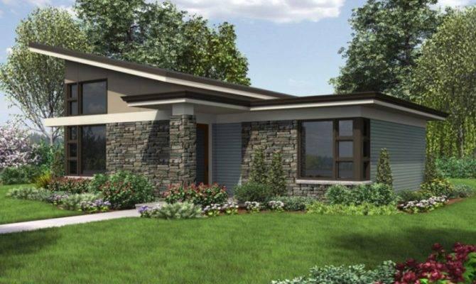 single story modern house plans facade large windows