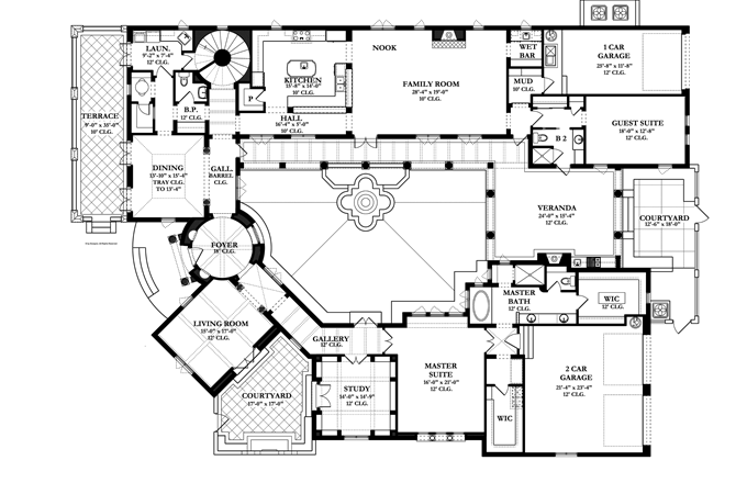 Spanish Colonial Revival House Plans Style House Plans 4008