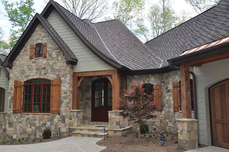 Stone Wood House Exterior Homes Pinterest House Plans