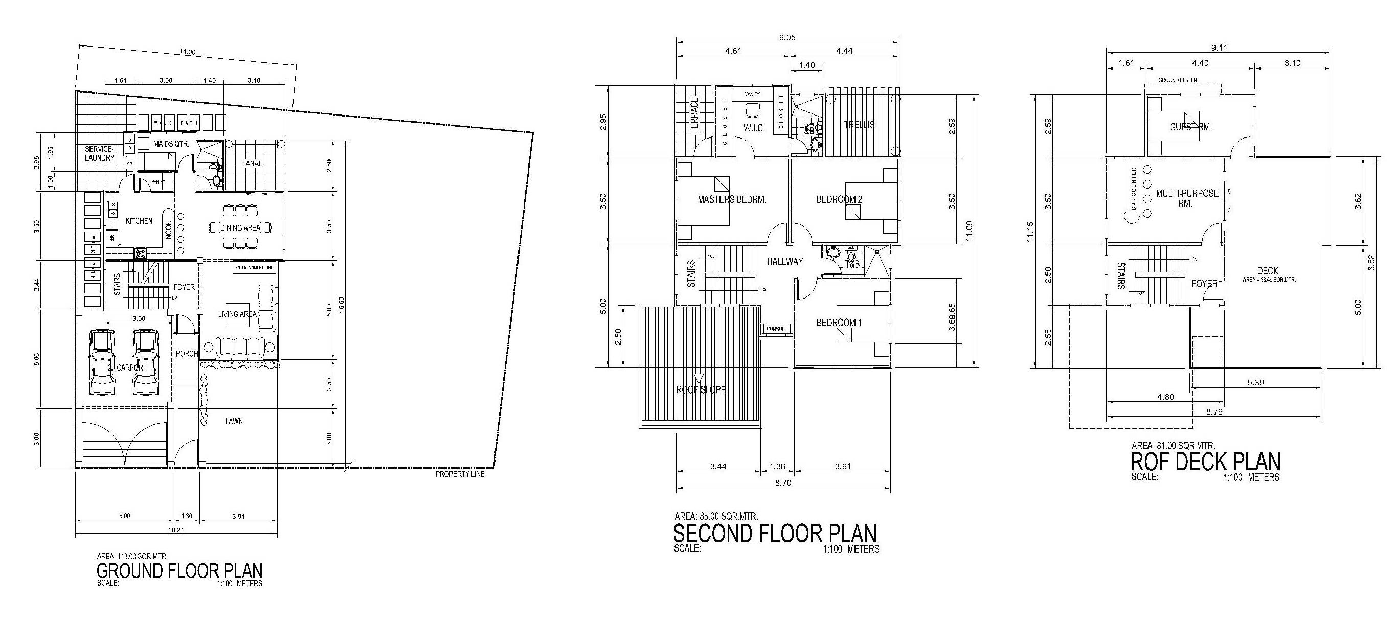 3 Story Modern Beach House Plans Arts With Roof Deck Floor 2 Lrg