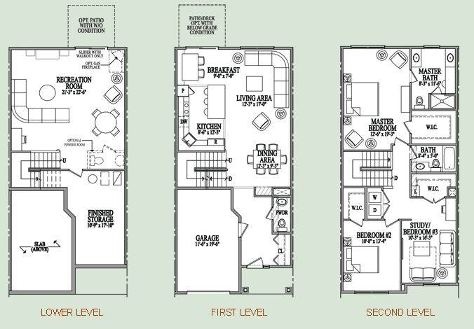 Three Story Condo Floor Plan Home Pinterest House Plans