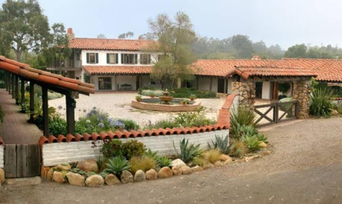 Adobe Courtyard Mediterranean Exterior Santa Barbara