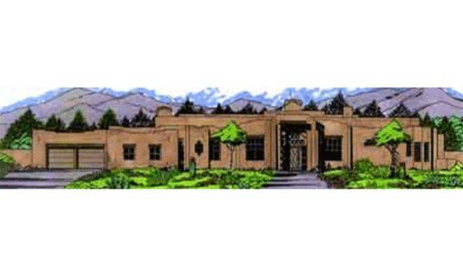 Adobe Southwestern Style House Plan Beds Baths
