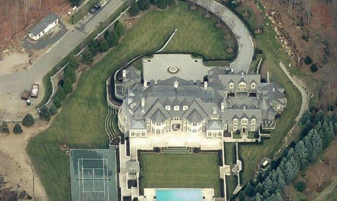 Aerial Pics Stone Mansion Alpine Homes