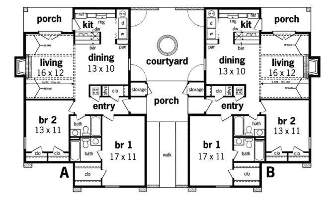 Alberton Stucco Duplex Design Plan House Plans More