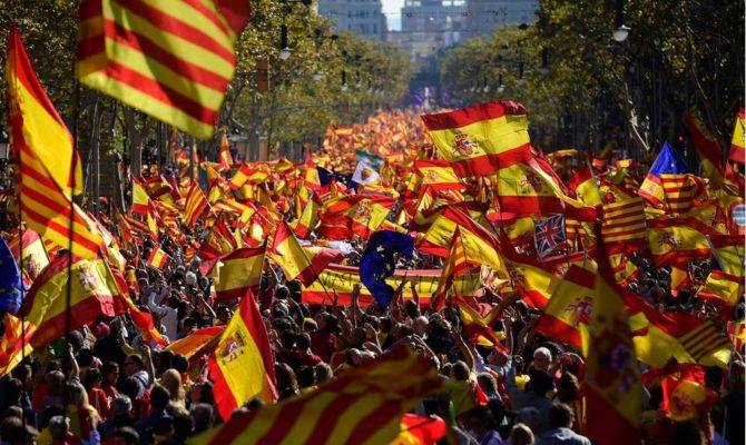 All Catalonia Hundreds Thousands Rally