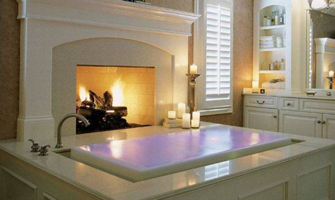 Amazing Bathroom Fireplace Interior Design Architecture