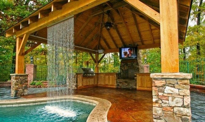 Amazing Fireplace Deck Beautiful Swimming Pool