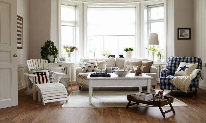 American Country Style Lounge Living Room Bay Window Interior