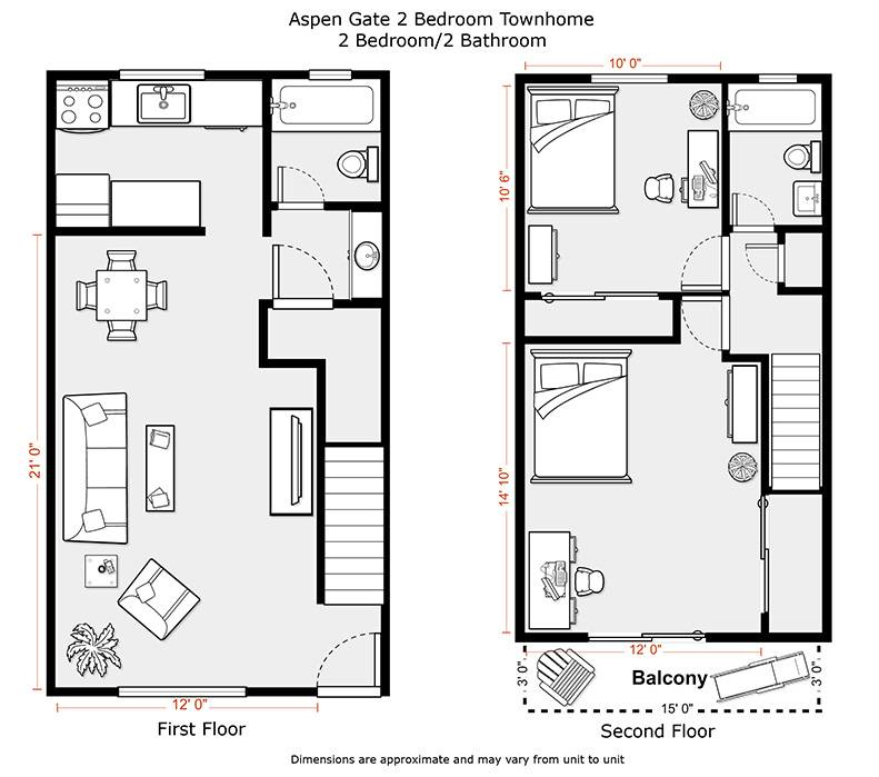 Apartments Floor Plan Bedroom Apartment Two House Plans 171233