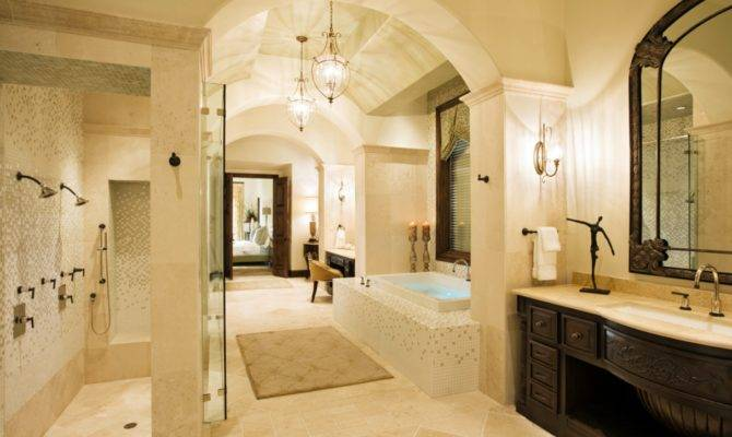 Arched Ceilings Divide Long Narrow Master Bath Giving