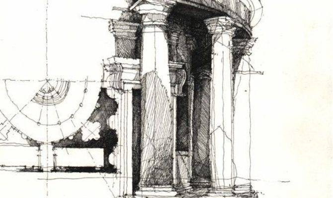 Architectural Sketches Freehand Art Black
