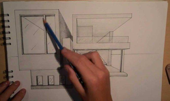 Architecture Design Drawing Modern House Point Perspective