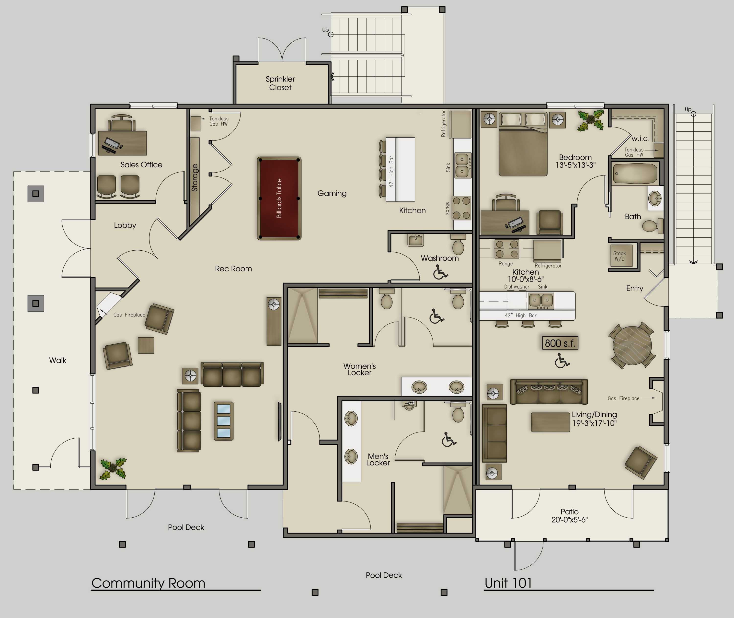 Architecture Office Apartments Cozy Clubhouse Main Floor House Plans 95193