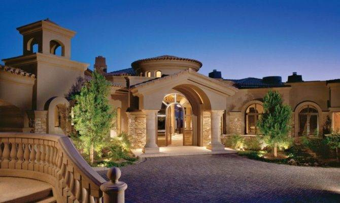 Architecture Single Story Tuscan Luxury Home Plan