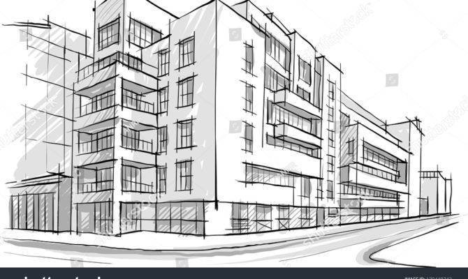 Architecture Sketch Drawing Buildingcity Vector