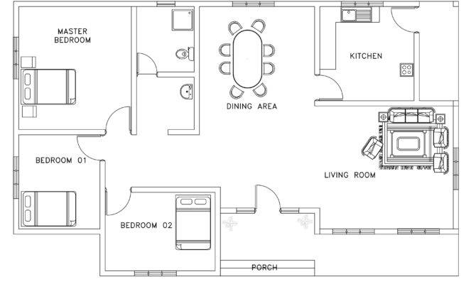 Asian African Style Small House Plan Dwg Cad