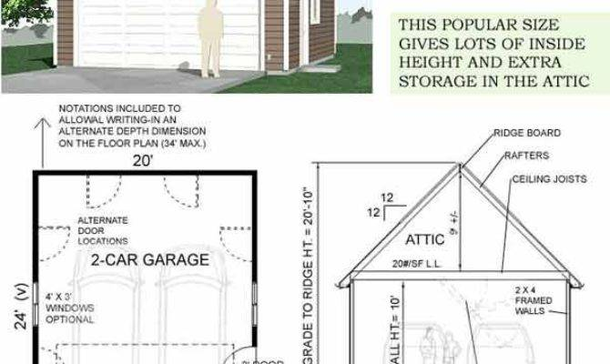 Attic Car Steep Roof Garage Plan One Story