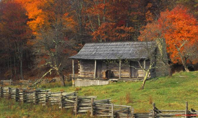 Autumn Fall Color Kentucky Country Log Cabin Brightly