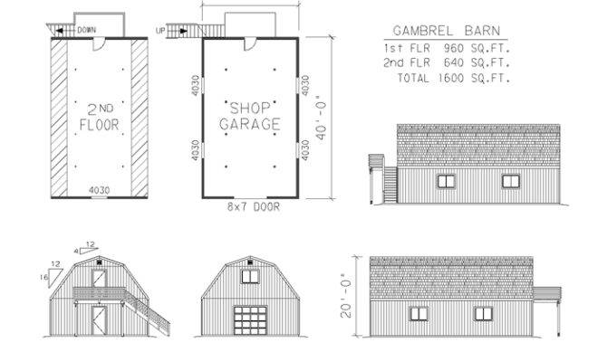 Barn Garage Shop Plans Engineered Complete Material List