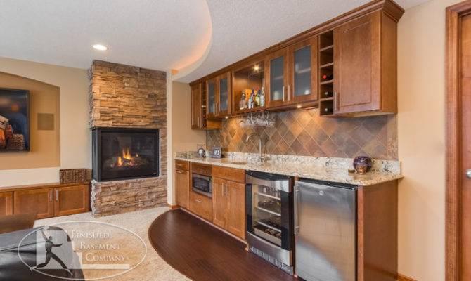 Basement Walk Bar Fireplace Traditional