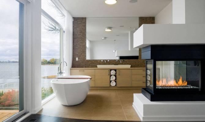 Bathroom Fireplace Riverside Home Ottawa Canada