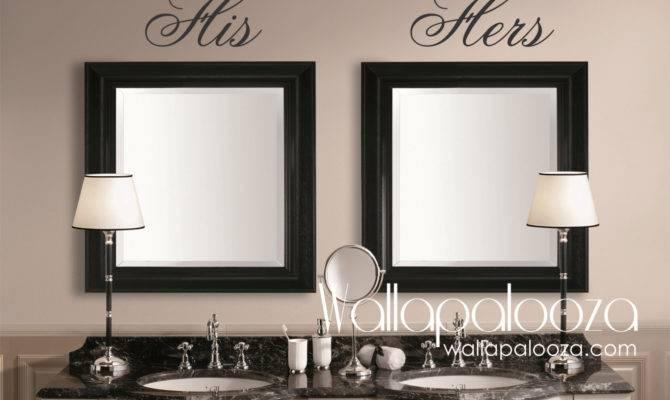 Bathroom Wall Decor His Hers Decal Mirror